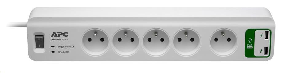 APC Essential SurgeArrest 5 outlets with 5V, 2.4A 2 port USB Charger 230V France, 1.8m (PM5U-FR)