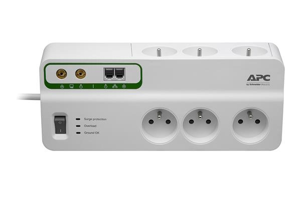 APC Home/Office SurgeArrest 6 Outlets with Phone & Coax Protection 230V France, 3m (PMH63VT-FR)