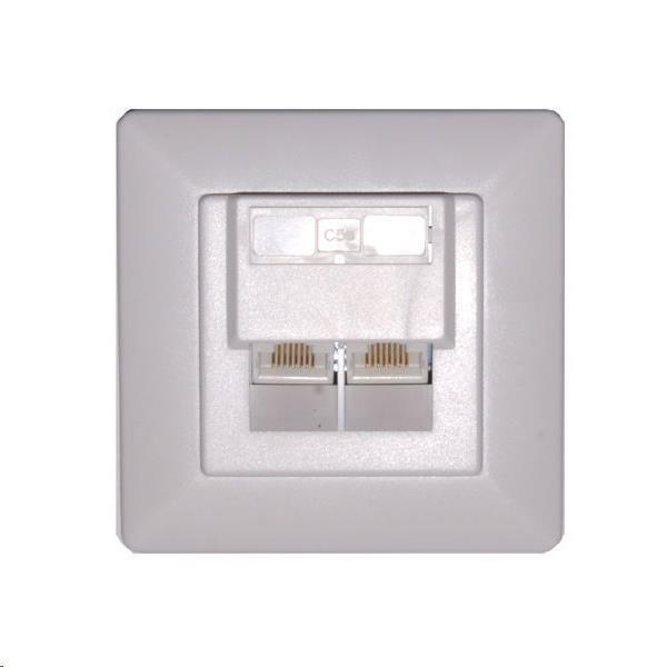 Zásuvka 2xRJ45 nestíněná pod omítku (při užití krabičky i na zeď), Cat6 (ZASO2W66NNIPS)