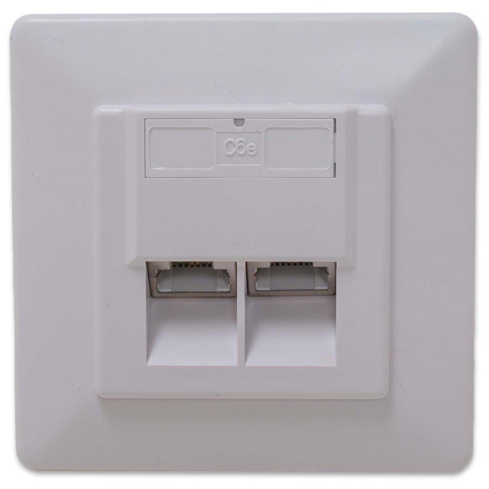 Zásuvka 2xRJ45 stíněná pod omítku (při užití krabičky i na zeď), Cat6 (ZASO2W66SNIPS)