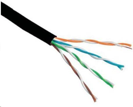 UTP kabel Elite, 4páry, Cat6, drát, venkovní PE, 305m cívka (KAB-SLD-UTP6-OUT-GR)