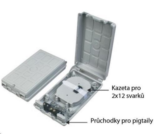 Optický plastový rozvaděč pro 24 svarů, 24 pigtailů, 2 kabelové porty, odklopná dvířka (ORS-224)