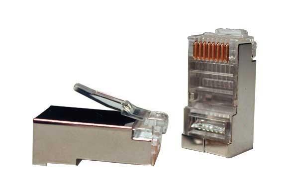 Konektor STP RJ45-8p8c, Cat5e, 30µm Au, drát, 100ks (.)