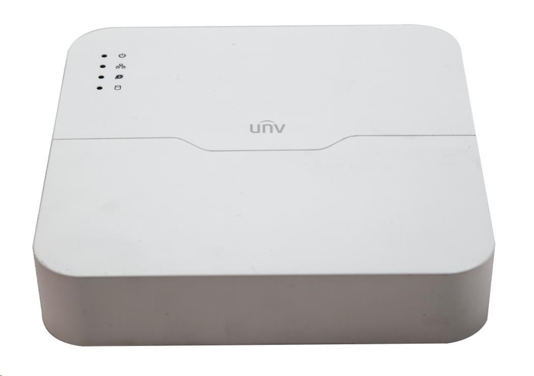 Uniview NVR, 4 PoE (Max 54W) kanály, H.265, 1x HDD, 8Mpix (40Mbps/64Mbps), HDMI, VGA, 2x USB 2.0, audio