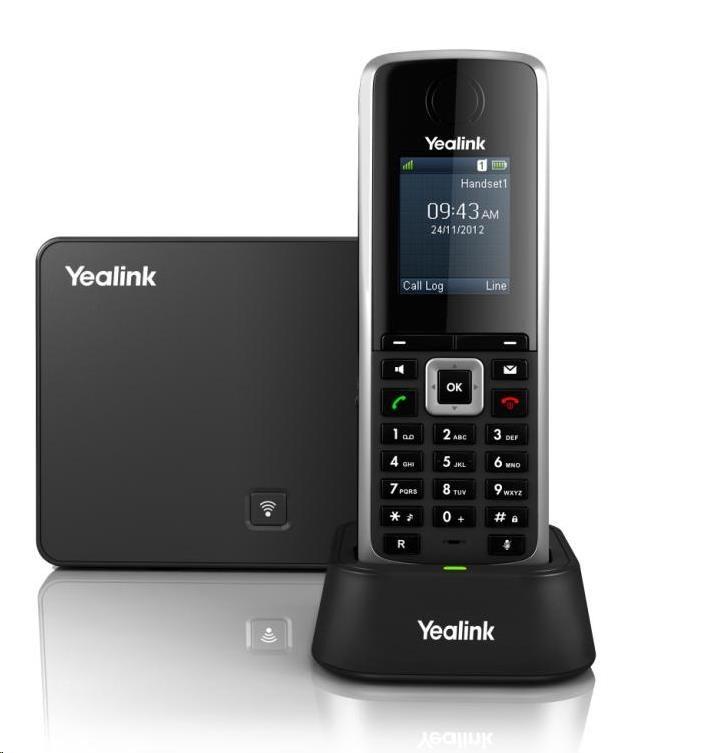 """Yealink W52P IP DECT báze+ručka,PoE,1,8"""" bar. LCD,až 5 ruček"""