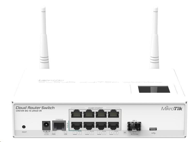 MikroTik Cloud Router Switch CRS109-8G-1S-2HnD-IN, 600MHz CPU,128MB RAM,9xLAN,2.4 Wi-Fi,LCD, 1xSFP slot, vč. L5 licence