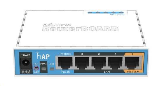 MikroTik hAP, 650MHz CPU, 64MB RAM, 5x LAN, integr. 2.4GHz Wi-Fi, WPS, vč. L4 (RB951Ui-2nD)