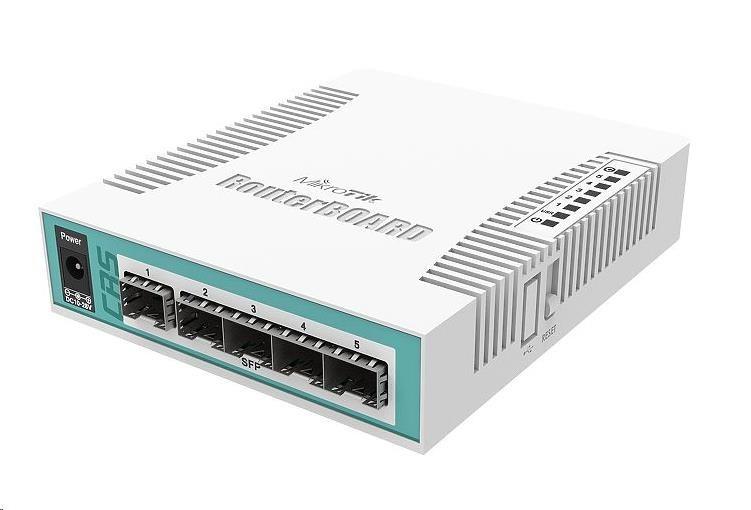 MikroTik Cloud Router Switch CRS106-1C-5S, 400MHz CPU, 128MB RAM,1xGLAN/SFP, 5xSFP slot, vč. L5 licence