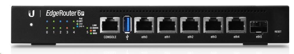 UBNT EdgeMAX EdgeRouter 6 PoE [1GHz quad-core CPU, 1GB RAM, PoE, EdgeOS, 5 gigabitové porty + 1xSFP slot, fanless]