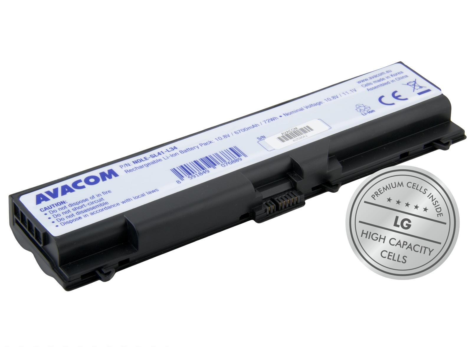"AVACOM Lenovo ThinkPad T410/SL510/Edge 14"", Edge 15"" Li-Ion 10,8V 6700mAh 72Wh"