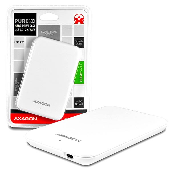 "AXAGON - EE25-PW USB2.0 - SATA 2.5"" externí PURE box WHITE"