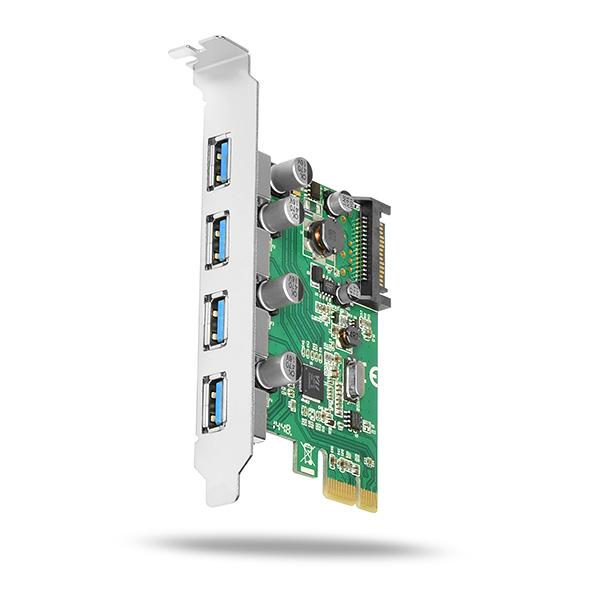 AXAGON PCEU-430V, PCIe adapter 4x USB3.0, UASP, nabíjení 3A, VIA