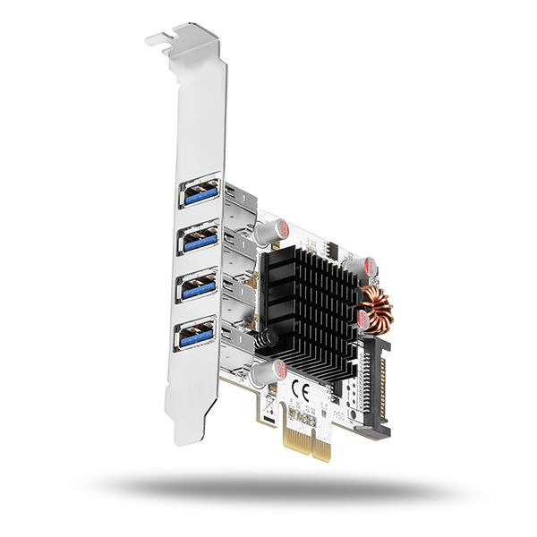 AXAGON PCEU-43VQ, HQ PCIe adapter 4x USB3.0, UASP, nabíjení 3.8A, VIA + LP