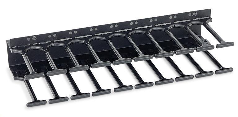 TRITON Vertikální vyvazovací panel 10 U - hřeben, pro rozvaděče šíře 800 mm, RAL9005