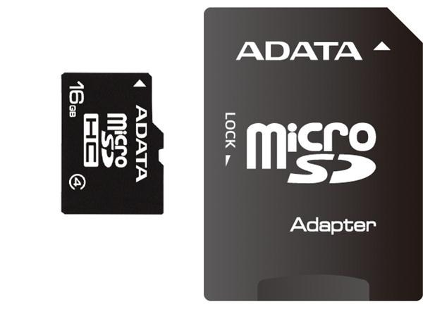 ADATA Micro SDHC karta 16GB Class 4 + SD adaptér (AUSDH16GCL4-RA1)