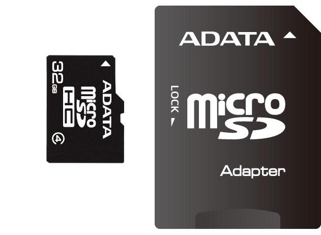 ADATA Micro SDHC karta 32GB Class 4 + SD adaptér (AUSDH32GCL4-RA1)