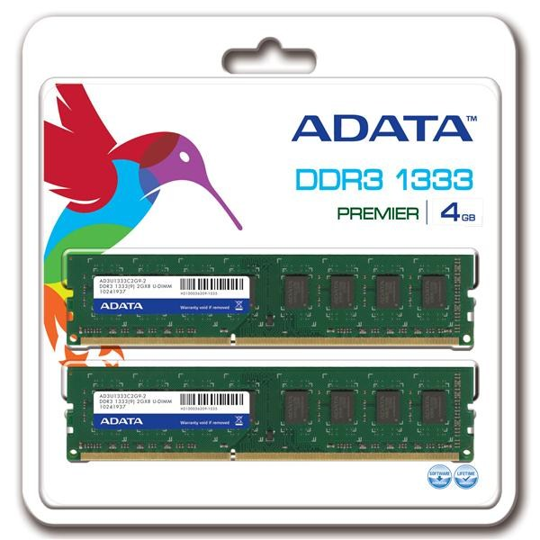 DIMM DDR3 4GB 1333MHz CL9 (KIT 2x2GB) ADATA, retail (AD3U1333C2G9-2)