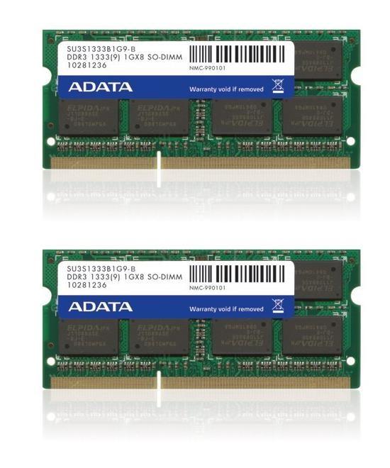 SODIMM DDR3 16GB 1333MHz CL9 (KIT 2x8GB) 512x8 ADATA, retail (AD3S1333W8G9-2)