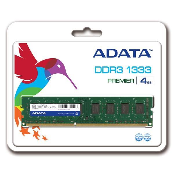DIMM DDR3 4GB 1333MHz CL9 512x8 ADATA, retail (AD3U1333W4G9-R)