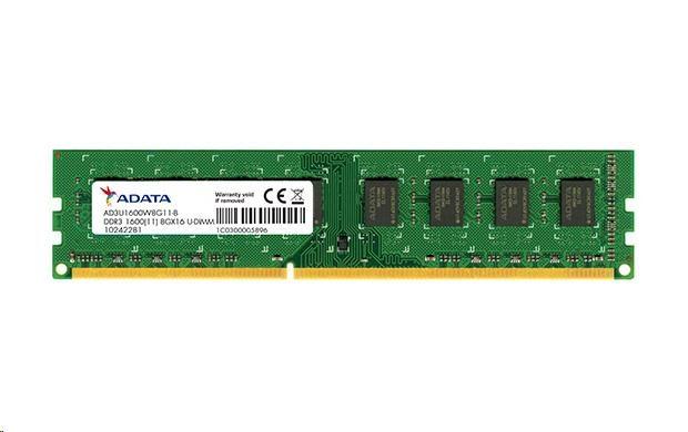 DIMM DDR3 8GB 1600MHz CL11 512x8 ADATA, retail (AD3U1600W8G11-R)