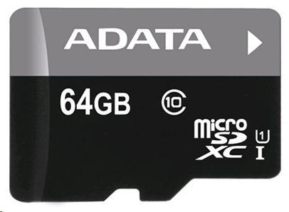 ADATA Micro SDXC karta 64GB UHS-I Class 10 + SD adaptér, Premier (AUSDX64GUICL10-RA1)