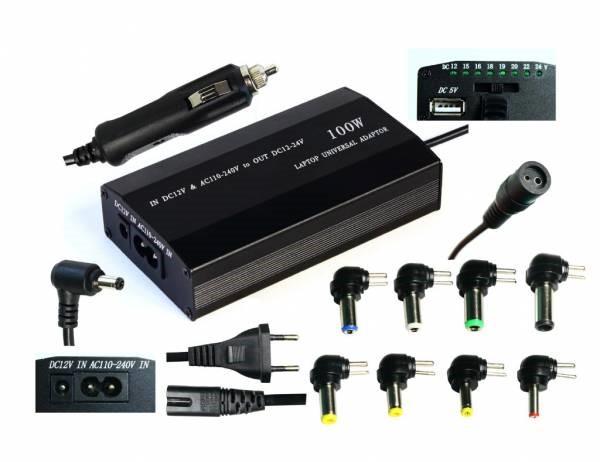 EUROCASE univerzální napájecí adaptér 100W, AC 110-240V/CAR DC 12V, DC 12- 20, 9 koncovek (NAEC-YH-4070)