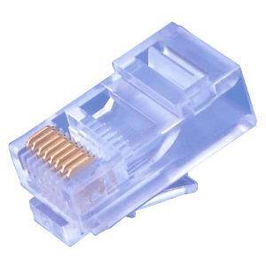 Konektor UTP RJ45-8p8c,Cat5e, 50µm Au, drát, 100ks