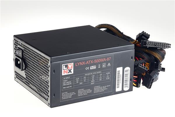 LYNX zdroj 500W, účinnost 87+, ATX (LYNX-ATX-500WA-87)