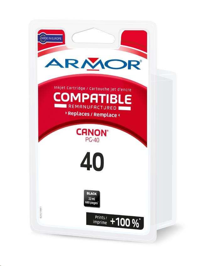 ARMOR cartridge pro CANON Pixma iP 1200, 2200, 2500, MP150, MP470, MX300 (PG-40) black