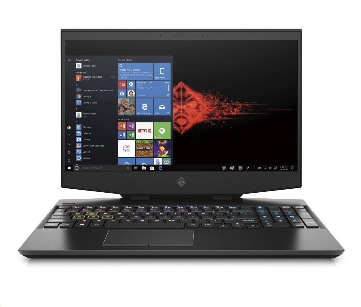 NTB HP OMEN 15-dh0001nc, 15.6 FHD IPS, i7-9750H, 16GB DDR4, SSD 512GB+SSD 32GB, RTX 2060 6GB, WIN10-BLACK