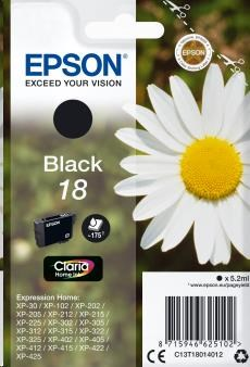 EPSON Singlepack Black 18 Claria Home Ink (C13T18014012)