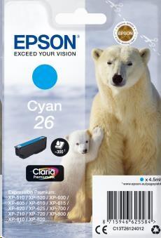 EPSON Singlepack Cyan 26 Claria Premium Ink (C13T26124012)