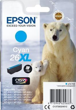 EPSON ink bar Singlepack Cyan 26XL Claria Premium Ink blistr