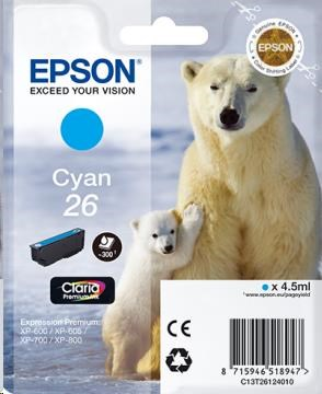 EPSON Ink bar Singlepack Cyan 26 Claria Premium Ink (4,5 ml)