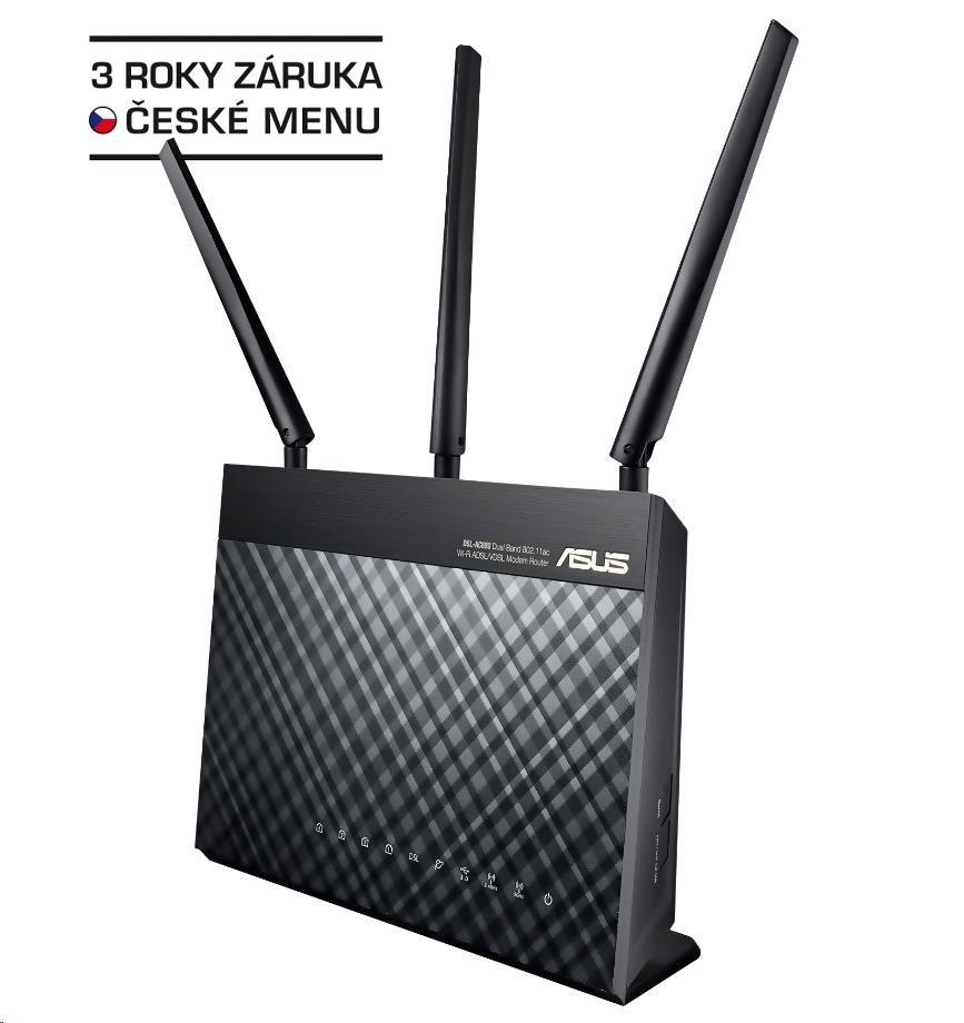 ASUS DSL-AC68U Dual-band Wireless AC1900 VDSL/ADSL Modem Router, 4x gigabit RJ45, 1x USB3.0 (90IG00V1-BM3G00)