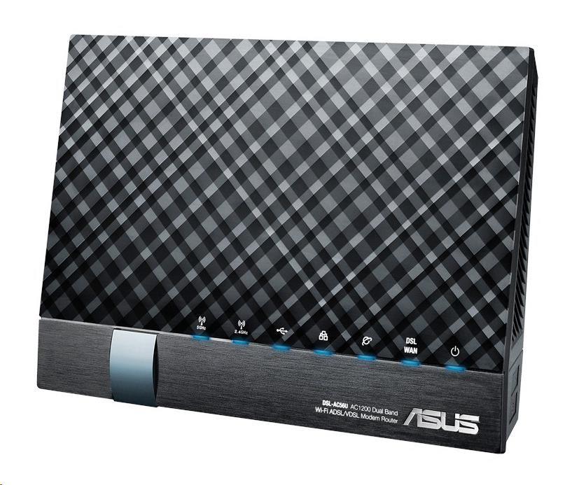 ASUS DSL-AC56U Dual-band Wireless AC1200 VDSL/ADSL Modem Router, 4x gigabit RJ45, 2x USB2.0 (90IG01E