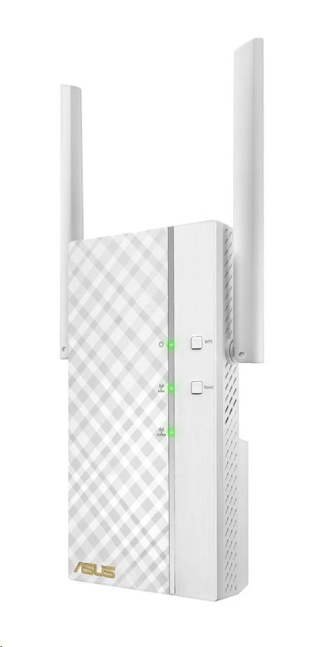 ASUS RP-AC66 Wireless AC1750 Dualband Range Extender, AP/repeater přímo do zásuvky, 1x gigabit RJ45 (90IG0250-BO3R00)