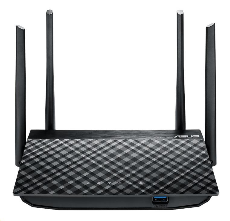 ASUS RT-AC58U Gigabit Dualband Wireless AC1300 Router, 4x gigabit RJ45, 1x USB3.0 (90IG02N0-BM3000)