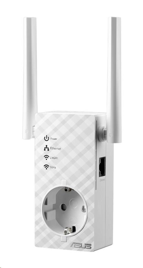 ASUS RP-AC53 Wireless AC750 Dualband Range Extender, AP/repeater přímo do zásuvky, 1x 10/100 RJ45 (90IG0360-BM3000)