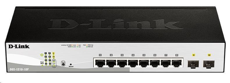 D-Link DGS-1210-10P 10-port Gigabit Smart+ PoE Switch, 8x GbE PoE+, 2x SFP, PoE 65W, fanless
