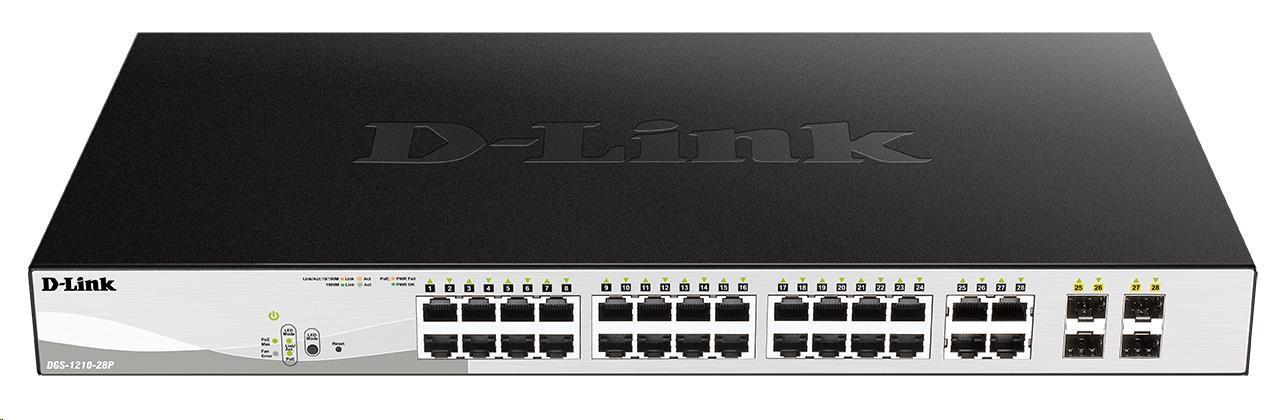D-Link DGS-1210-28P 28-port Gigabit Smart+ PoE Switch, 24x GbE PoE+, 4x RJ45/SFP, PoE 193W