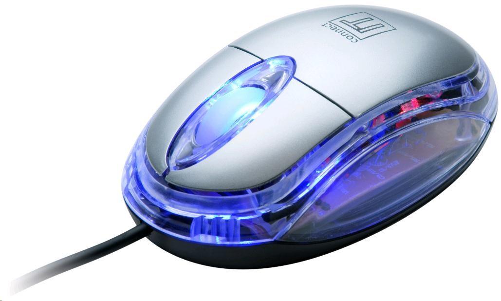 CONNECT IT Myš CI-64 s LED podsvícením, USB, štříbrná