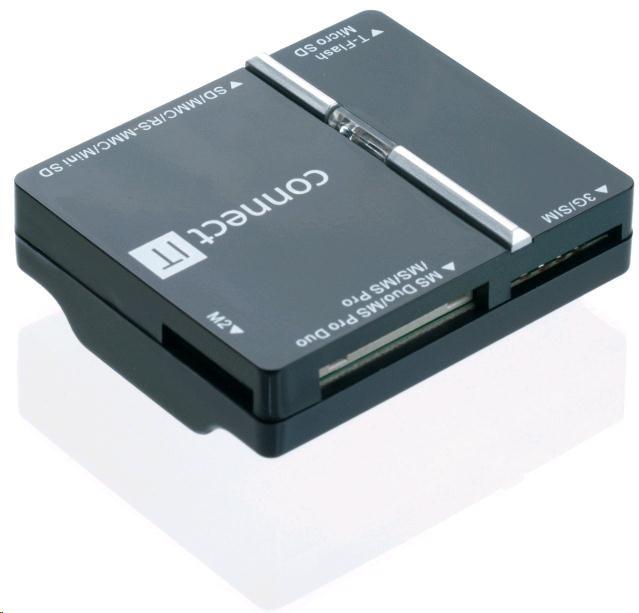 CONNECT IT Čtečka paměťových karet + SIM USB 2.0 WAVE, černá (CI-86)
