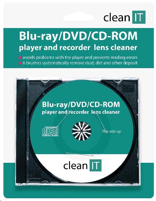 CLEAN IT Čistící CD pro CD/DVD/Blu-Ray přehrávače a PC mechaniky (6 kartáčků) (CL-32)