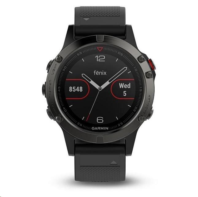 Garmin GPS sportovní hodinky fenix5 Sapphire Gray Optic, černý řemínek (010-01688-00)