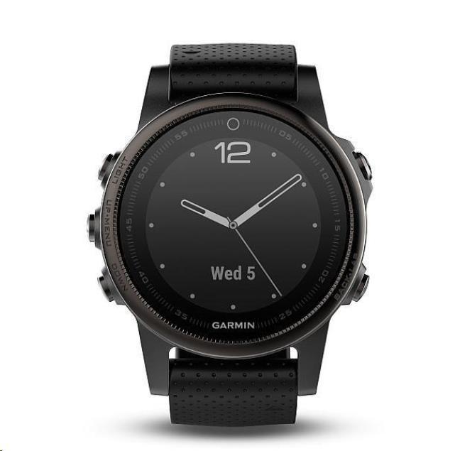 Garmin GPS sportovní hodinky fenix5S Sapphire Gray Optic, černý řemínek (010-01685-11)