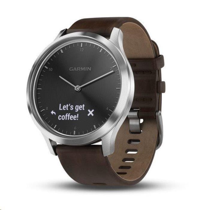 Garmin monitorovací náramek a hodinky vívomove Optic Premium Silver (velikost L) (010-01850-24)