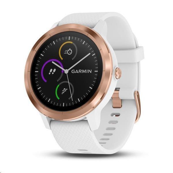 Garmin monitorovací náramek a hodinky vívoActive3 Optic Rose Gold, White band