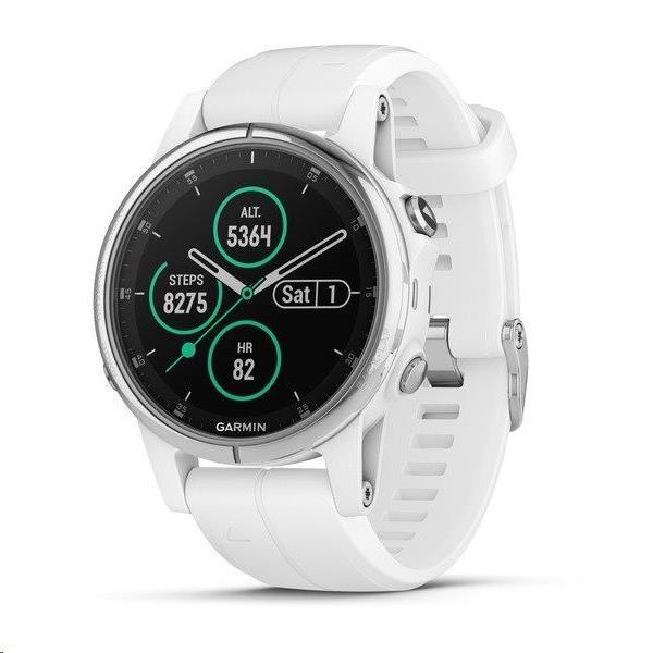 Garmin GPS sportovní hodinky fenix 5S Plus Silver, bílý řemínek