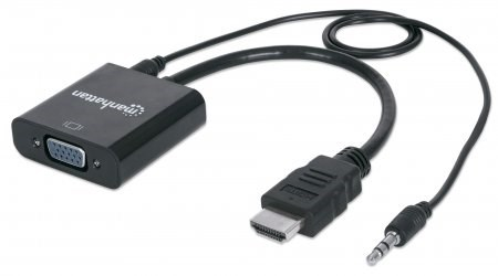 MANHATTAN převodník z HDMI na VGA + audio (HDMI Male to VGA Female, with audio, Polybag) (151559)